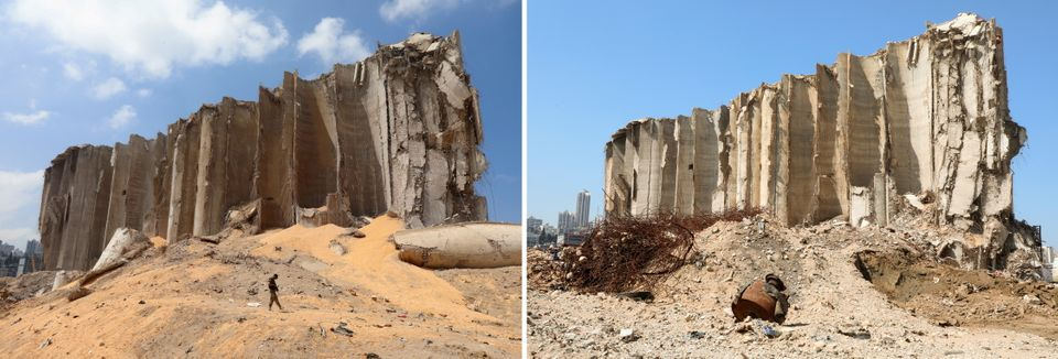 The grain silo just after the blast and then a year on