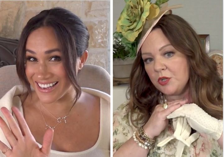 Meghan Markle (left) and Melissa McCarthy in a video introducing the duchess's 40x40 initiative.
