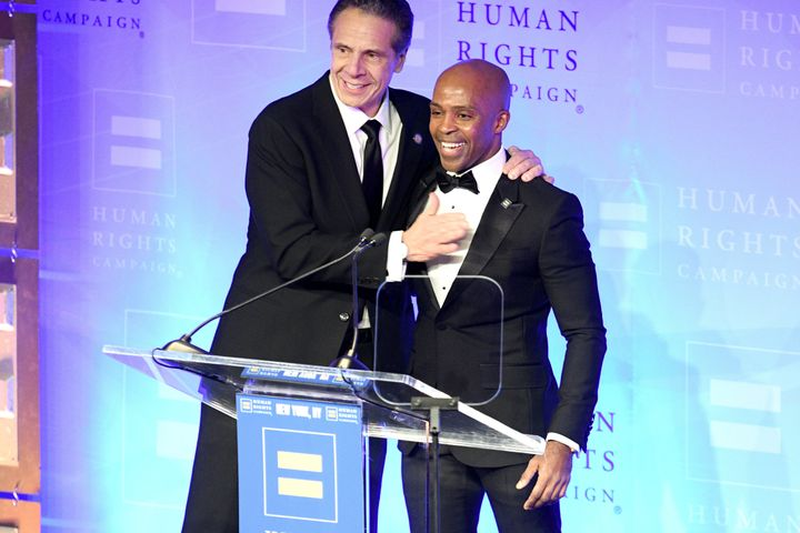New York Gov. Andrew Cuomo is welcomed to the stage by Human Rights Campaign President Alphonso David during a gala for the organization in February 2020.