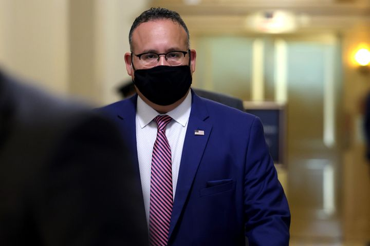 Secretary of Education Miguel Cardona departs from a meeting in the U.S. Capitol Building on Aug. 3 in Washington, D.C.
