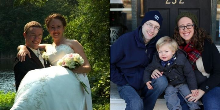 Becky L. McCoy didn't date immediatelyafter her husband, Keith died, but she understood the impulse. Here, they're pictured on their wedding day and with their oldest child.
