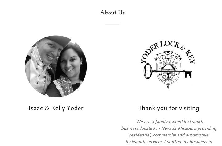 A screenshot from Yoder Lock & Key's website. The FBI arrested Isaac Yoder for participating in the Jan. 6 attack on the