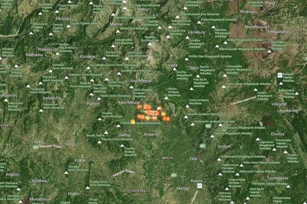 Τα πύρινα μέτωπα από τον δορυφόρο - Οι φωτιές έχουν «καταπιεί»