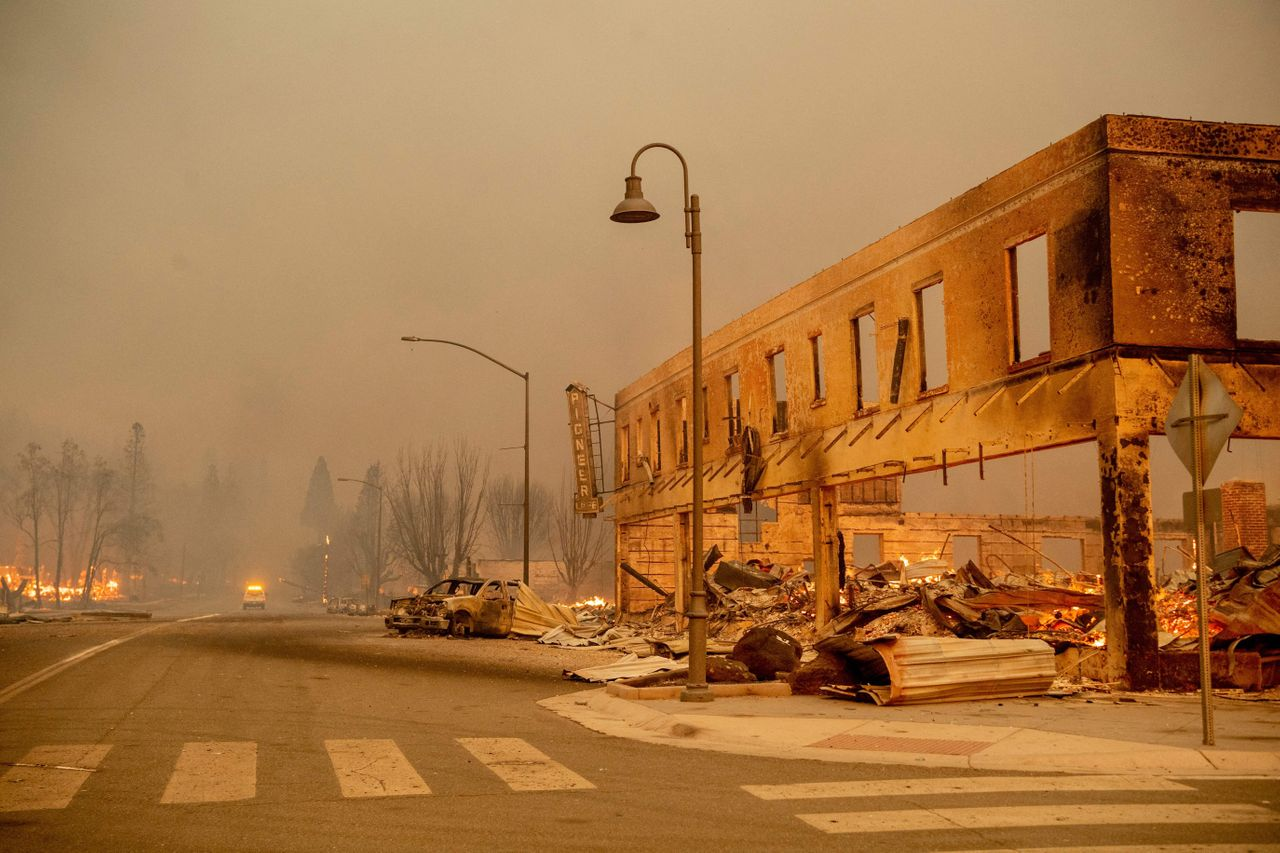The Dixie Fire ripped through downtown Greenville, California on Wednesday, burning dozens of homes and businesses.