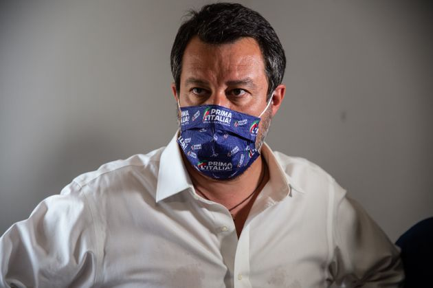 BATTIPAGLIA, ITALY - JULY 13: Matteo Salvini senator and leader of the Lega party attends the inauguration...