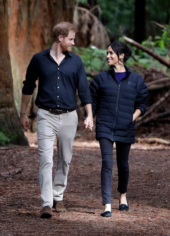 The Duke and Duchess of Sussex visit Redwoods Tree Walk on Oct. 31, 2018 in Rotorua, New Zealand. The Duke and Duchess of Sus