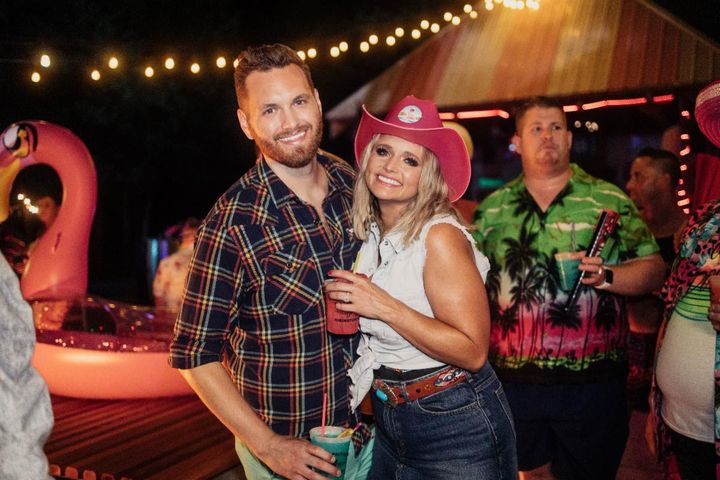 "Luke (left) and Miranda Lambert on the ""Tequila Does"" set."