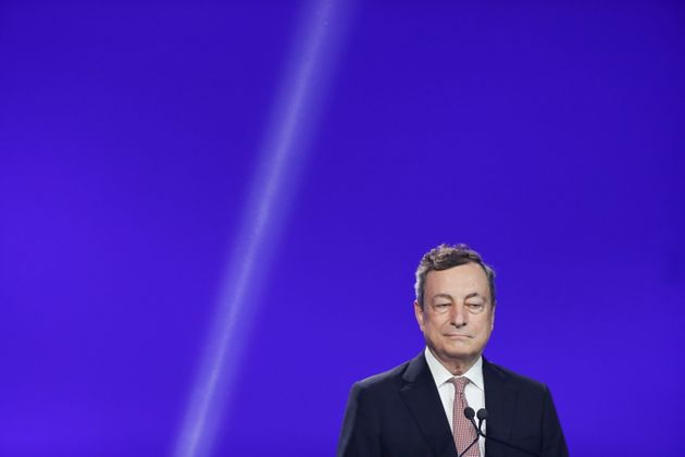Italian Prime Minister Mario Draghi attends a joint news conference with European Commission President...