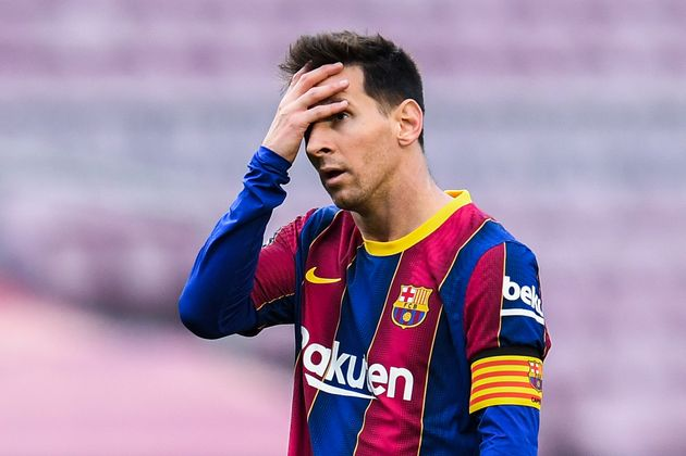 BARCELONA, SPAIN - MAY 16: Lionel Messi of FC Barcelona shows his dejection during the La Liga Santander...