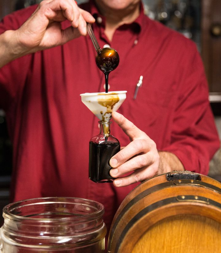 Balsamic vinegar of Modena is bottled in a traditional acetaia, where it is aged.