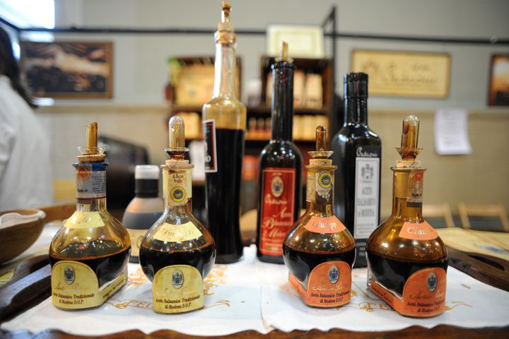 Balsamic vinegar from Modena is displayed with its proper labeling in Turin, Italy.