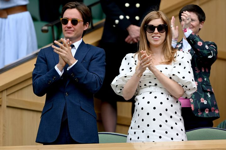 Edoardo Mapelli Mozzi and Princess Beatrice are seen at Wimbledon on July 8 in London.