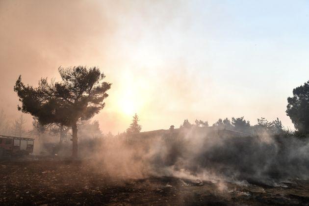 Εικόνα από την αναζωπύρωση της φωτιάς στην περιοχή της