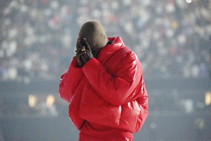"""Kanye West at his """"Donda by Kanye West"""" listening event at Mercedes-Benz Stadium on July 22 in Atlanta."""