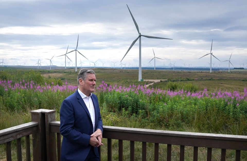 Labour leader Sir Keir Starmer during a visit to Whitelees windfarm,