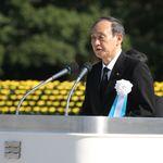 【広島平和記念式典】菅首相が読み飛ばしか。NHKの字幕は「核兵器のない世界の実現」と表示も首相は話さず