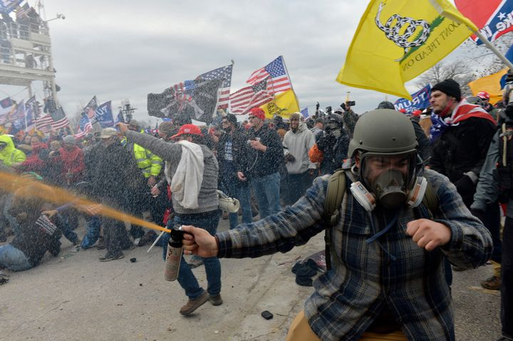 Trump supporters clash with police and security forces as they try to storm the U.S. Capitol on Jan. 6, 2021.