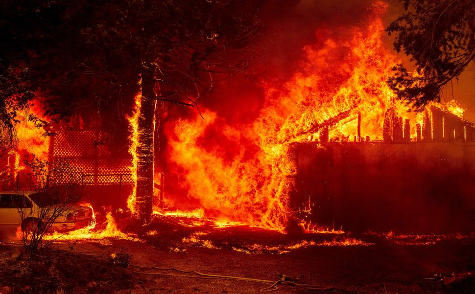 The largest wildfire in California destroyed buildings.