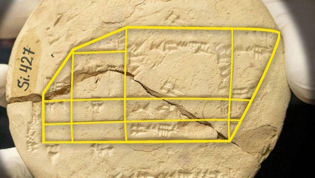 La tablette montre le calcul géométrique appliqué de la division d'un champ après sa