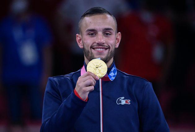 Le français Steven Da Costa lors de sa victoire olympique en Karaté Kumité -67kg...