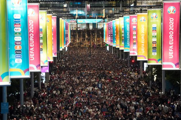 The crowds leaving the Euro 2020 final in Wembley stadium in