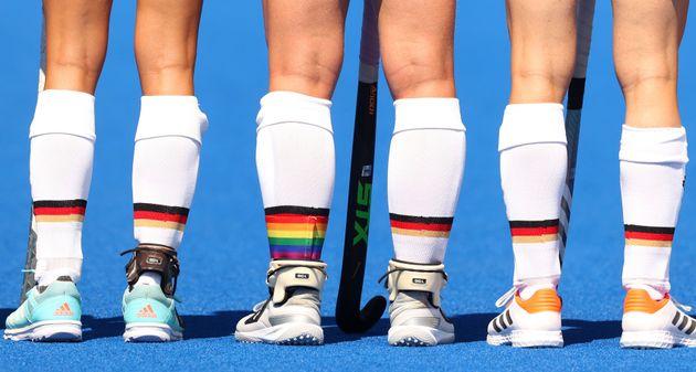 L'équipe allemande olympique de hockey lors des Jeux olympiques de Tokyo le 25 juillet
