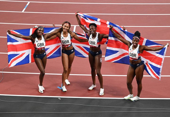 Dina Asher-Smith with her team-matesAsha Philip, Imani Lansiquot and Daryll after winning bronze in the Women's 4 x 100m Relay