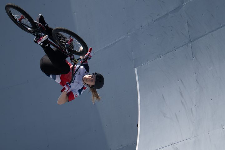 Charlotte Worthington in action in theCycling/BMX Freestyle Women's Final