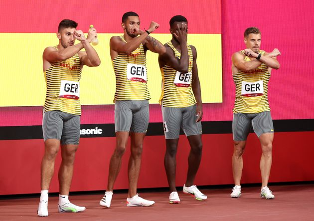 TOKYO, JAPAN - AUGUST 06: Members of Team Germany pose before competing in the men's 4x100m relay final...