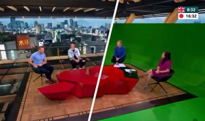 BBC Olympics studio is actually a giant green screen.