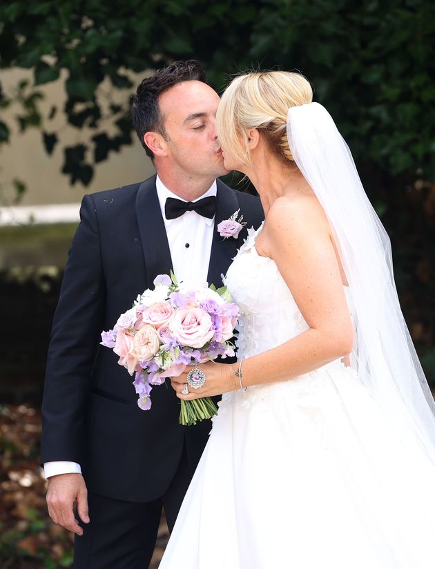 Ant McPartlin and Anne-Marie Corbett seen leaving their wedding at St Michael's Church in