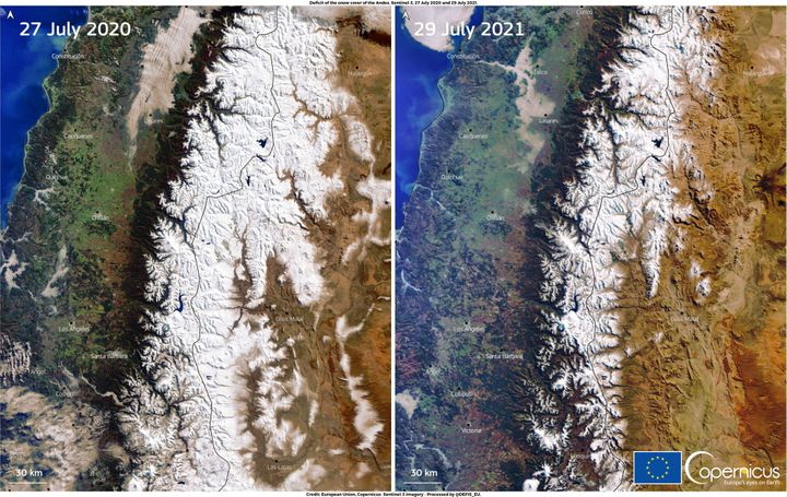 A combination of images, acquired by one of the Copernicus Sentinel-3 satellites, shows the snow deficit affecting the Andes mountain range in South America. Pictures taken July 27, 2020, and July 29, 2021.