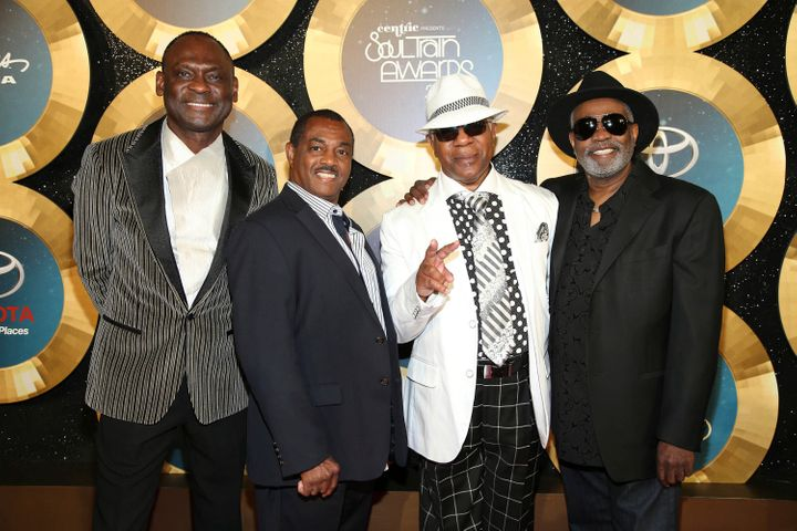 In this Nov. 7, 2014 file photo, George Brown, Ronald Bell, Dennis Thomas and Robert 'Kool' Bell of Kool and the Gang arrive during the 2014 Soul Train Awards at the Orleans Arena at The Orleans Hotel & Casino in Las Vegas, Nev. (Photo by Omar Vega/Invision/AP, File)