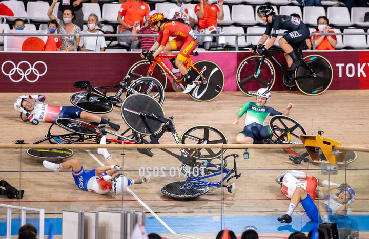 A major crash marred the last day of cycling at the Olympics.