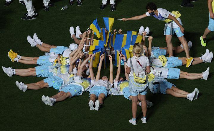 Ukrainian athletes celebrated at the closing ceremony.