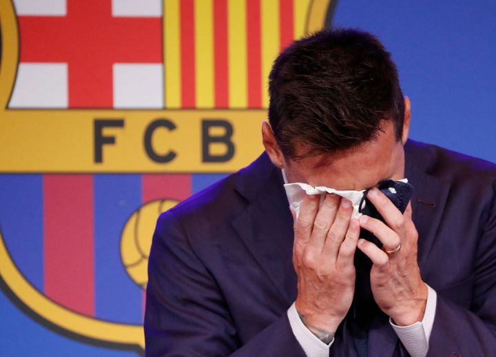 Lionel Messi, seen at a press conference Sunday, cried as he said he was not ready to leave Barcelona's football club.