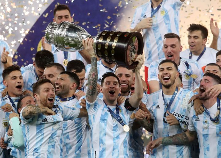 Lionel Messi and his teammates celebrate winning the Copa America on July 10.