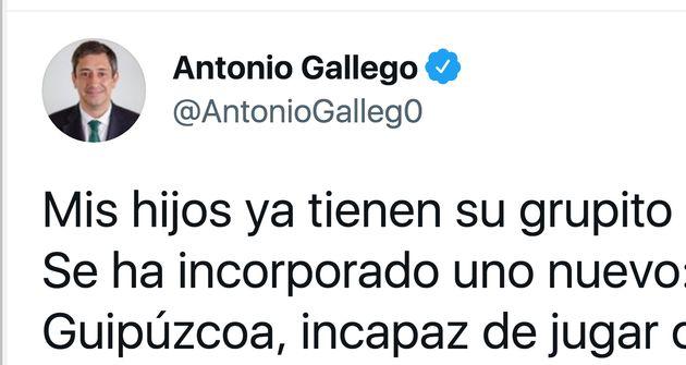 Tuit del diputado de Vox Antonio