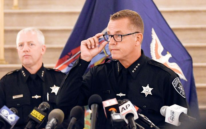 Albany County Sheriff Craig D. Apple speaks during a news conference concerning new complaint allegations against New York Gov. Andrew Cuomo Saturday, Aug. 7, 2021, in Albany, N.Y. (AP Photo/Hans Pennink)