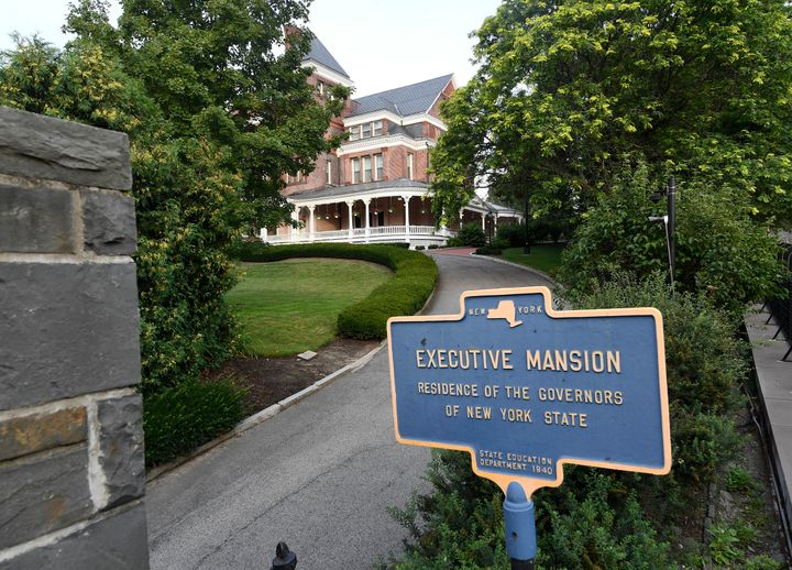 Exterior view of the New York state Executive Mansion, Saturday, Aug. 7, 2021, in Albany, N.Y. (AP Photo/Hans Pennink)