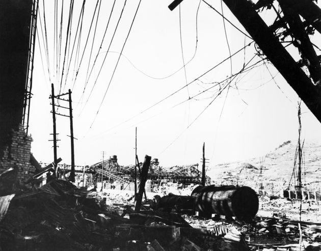 原爆で壊滅した長崎市の三菱重工。製鋼工場らしい(日本・長崎)
