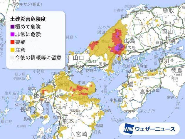 土砂災害の危険度分布