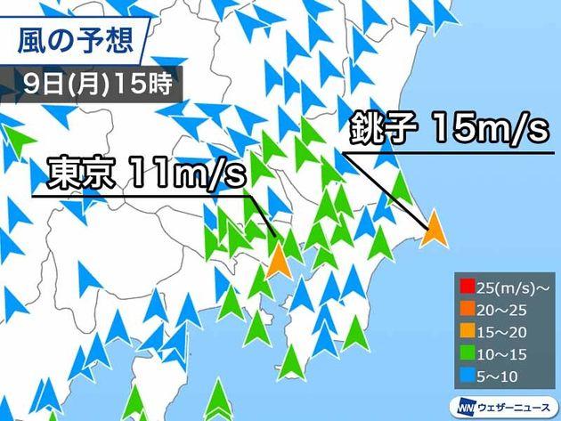 9日(月)午後の風の予想