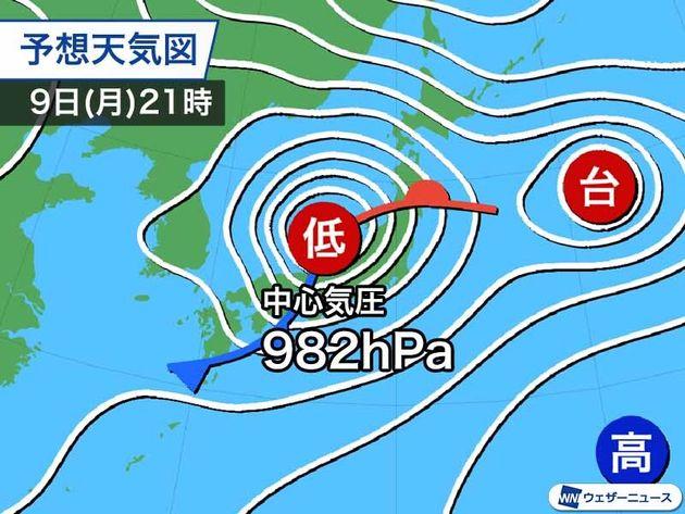 予想天気図 9日(月)21時