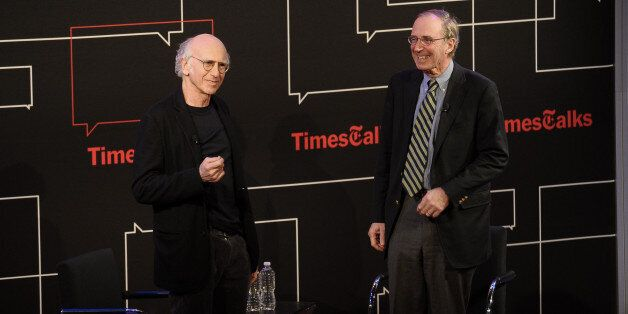 NEW YORK, NY - JANUARY 13:  (L-R) Larry David and Chip McGrath attend the Times Talk Presents: An Evening With Larry David at