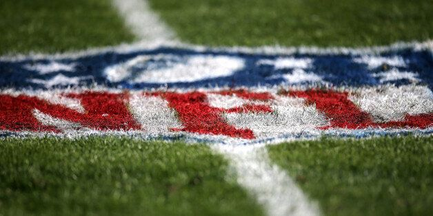 TAMPA, FL - DECEMBER 28: The NFL logo is seen painted on the playing field during an NFL football game between the New Orleans Saints and the Tampa Bay Buccaneers at Raymond James Stadium on December 28, 2014 in Tampa, Florida. (Photo by Alex Menendez/Getty Images)
