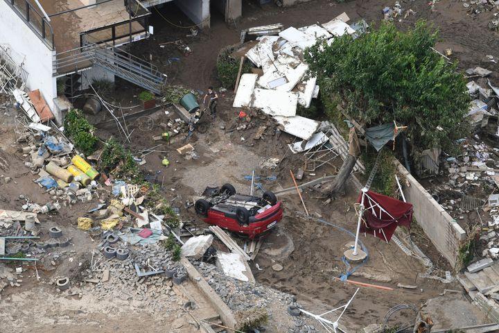 An aerial view shows of debris in Altenahr, western Germany, after devastating floods hit the region.