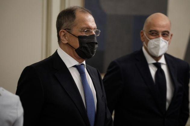 Συνάντηση του Πρωθυπουργού Κυριάκου Μητσοτάκη με τον Ρώσο Υπουργού Εξωτερικών Σεργκέι Λαβρόφ στο Μέγαρο...