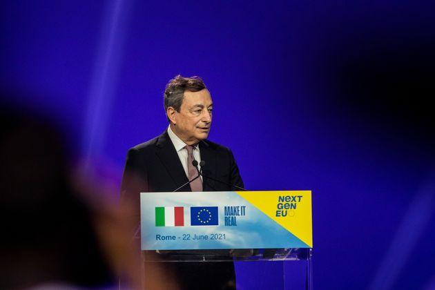 22/06/2021 Roma, Il presidente del Consiglio e la presidente della Commissione europea presentano il...