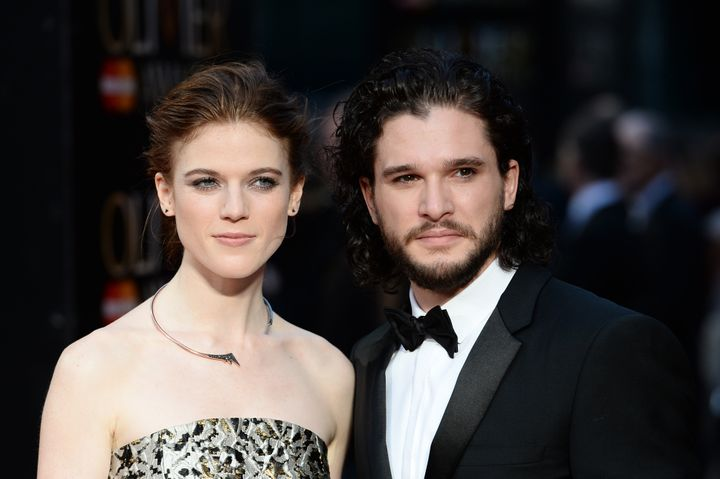 Rose Leslie and Harington attend the Olivier Awards at the Royal Opera House on April 3, 2016, in London.